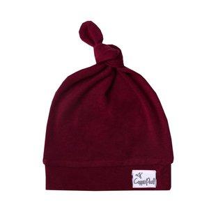 Copper Pearl newborn top knot hat - ruby