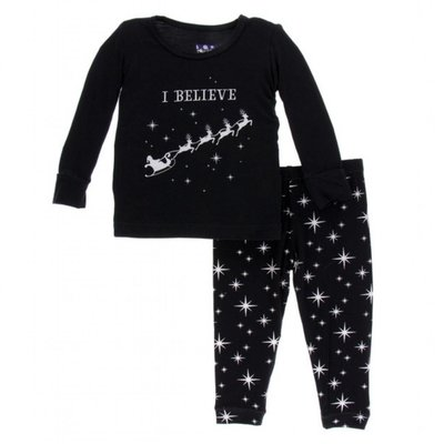 Kickee Pants Holiday Long Sleeve Pajama Set (Silver Bright Stars)
