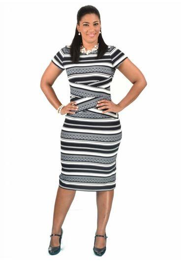 Shelby & Palmer Short Sleeve Multi Striped Sheath Dress