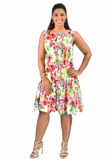 Floral Print Fit and Flare Cotton Dress with Zip At Front