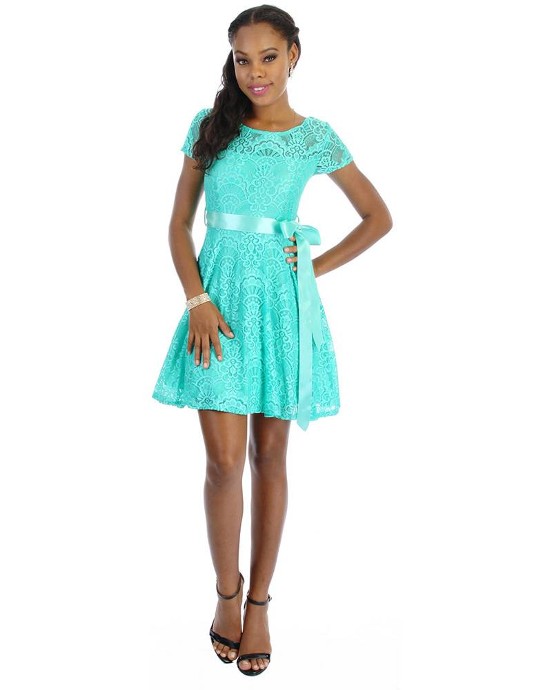 Dress-lace short slv w/band D - Harmonygirl.com