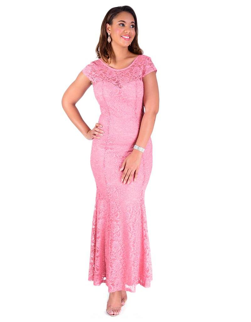 Dress-long all lace cap slv w/glitter - Harmonygirl.com