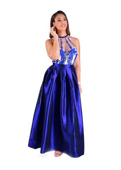 TULIP- Full Length Halter Mesh Top Gown