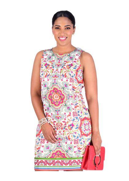 KIM- Floral Mandala Printed Sheath Dress