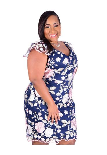 MAY-Plus Size Embroidered Spaghetti Strap Dress