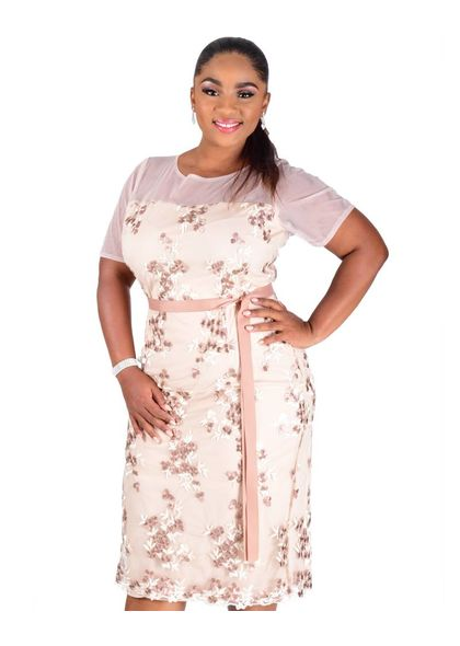 MACHIKO-Embroidered Flower Dress With Short Sleeves