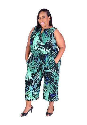 IBEN-Plus Size Palm Print Mid-Calf Jumper