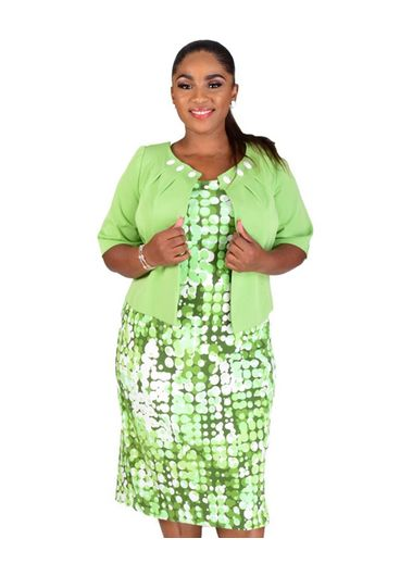 BERYL-Plus Size Printed Dress with Three Quarter Sleeve Jacket