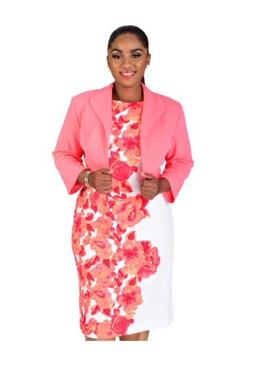 BARBARA-Plus Size Printed Dress with Three Quarter Sleeve Jacket