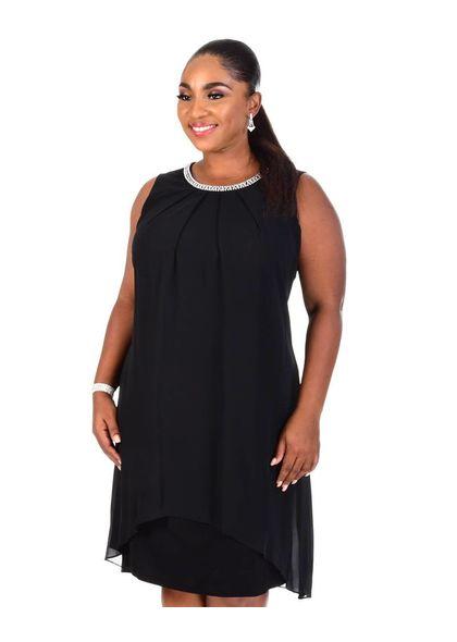 FLAVIE-Sleeveless Overlay Shift Dress with Pearl @ Neck