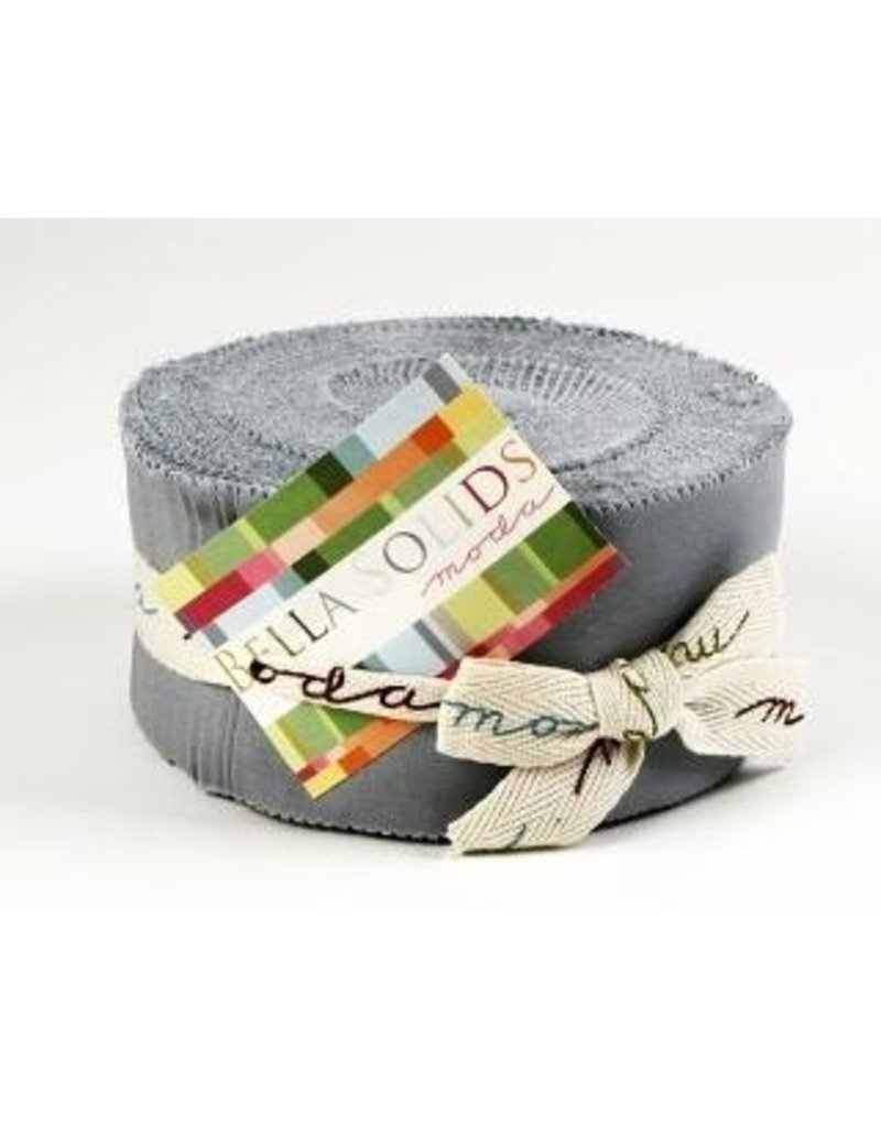 Bella Solids Jelly Roll-9900JR-183 Silver