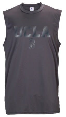 ca6bbf0fecb964 RUSSELL MENS PERFORMANCE SLEEVELESS TEE SHIRT TANKTOP CHARCOAL WITH UCLA  OVER B IN NAVY