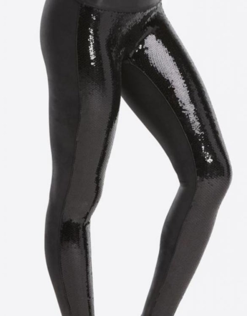 Faux leather sequin legging