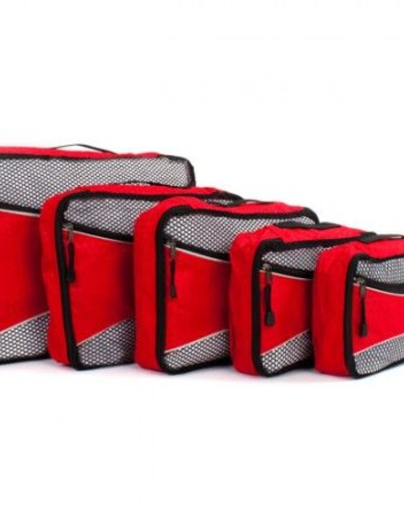 HEYS PACKING CUBE 5PC RED ECOTEX