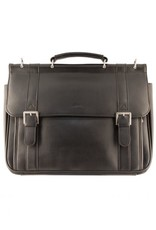 MANCINI LEATHER 63204 BLACK LEATHER BRIEFCASE