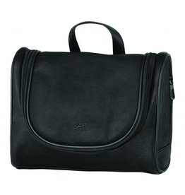MANCINI LEATHER BLACK LEATHER TOILETRY BAG