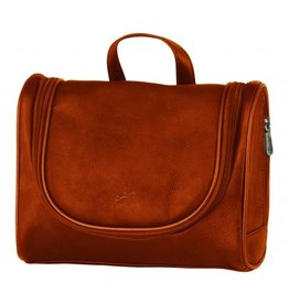 MANCINI LEATHER COGNAC LEATHER TOILETRY BAG