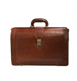 MANCINI LEATHER BBROWN LEATHER BRIEFCASE
