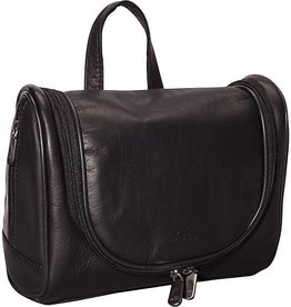 MANCINI LEATHER BROWN LEATHER TOILETRY BAG