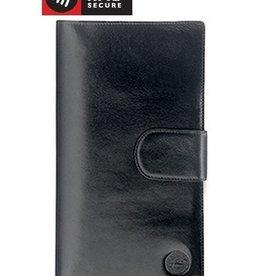 MANCINI LEATHER BLACK LEATHER PASSPORT HOLDER
