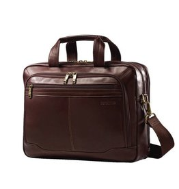 SAMSONITE BROWN LEATHER TOP ZIP