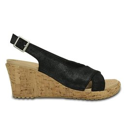 CROCS ALEIGH WEDGE 6 BLACK SHIMMER