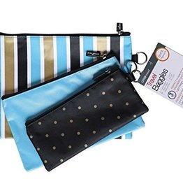 STRIPES 3 PC ZIPPERED POUCH