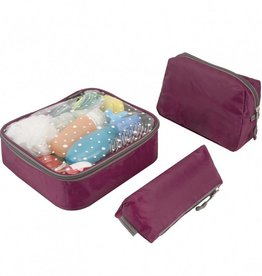 TRAVELON 3 Piece Toiletry Packing Set WINE