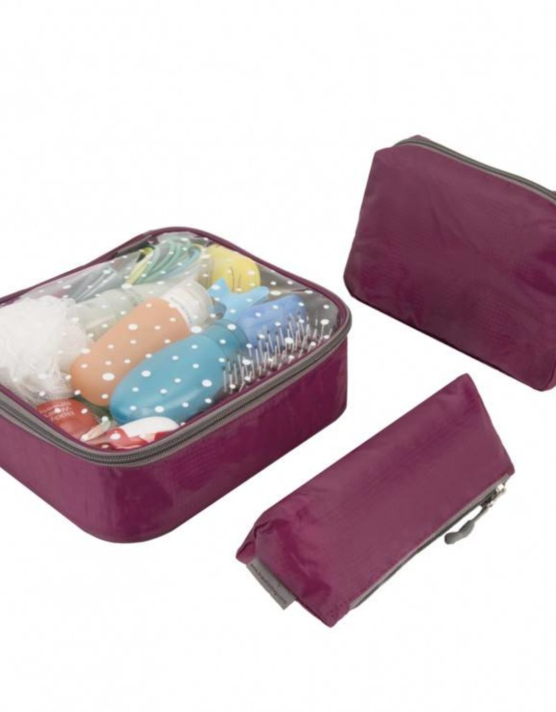 TRAVELON 43066 3 Piece Toiletry Packing Set WINE