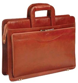 MANCINI LEATHER BLACK LEATHER BRIEFCASE