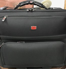 MANCINI LEATHER BLACK WHEELED BRIEFCASE
