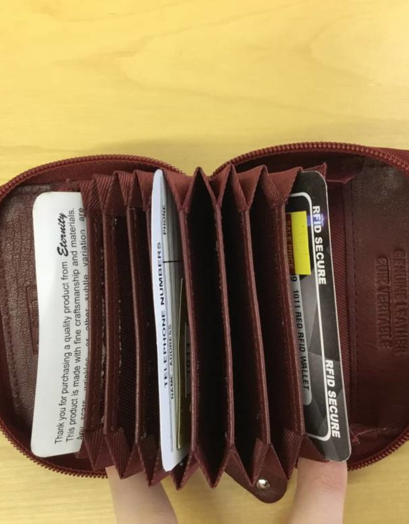 SGI LEATHERGOODS 1011 RED RFID CARD CASE
