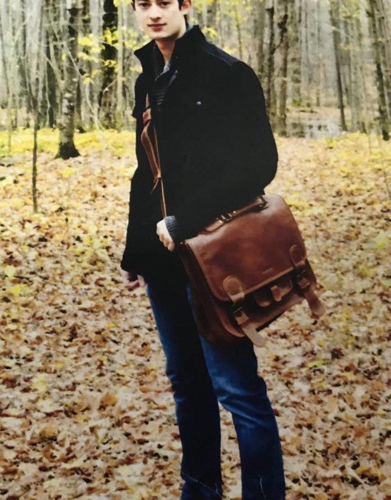 CANANU INTELLA UNISEX LARGE LEATHER MESSENGER BAG