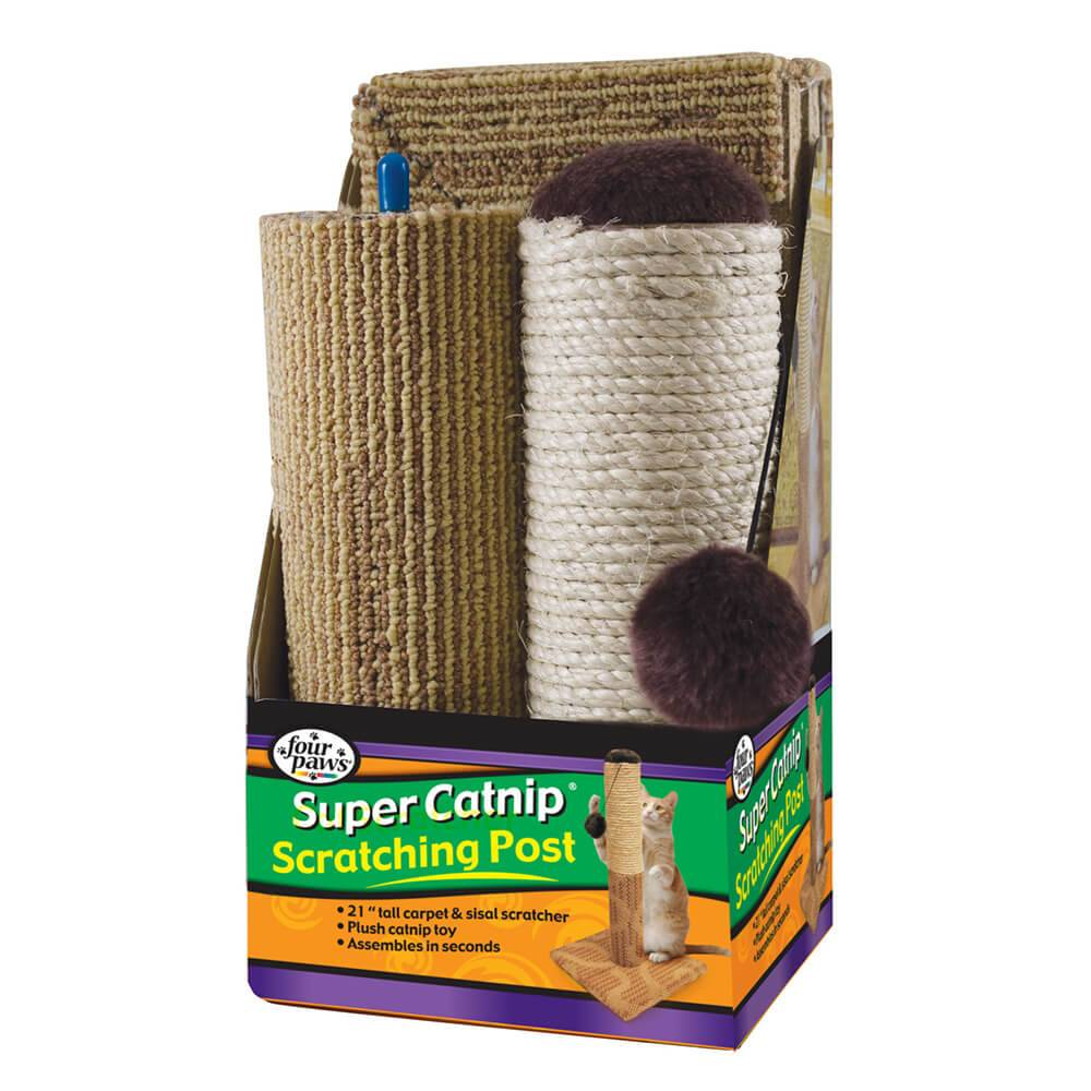 "Four Paws Products Four Paws Super Catnip 21"" Carpet and Sisal Scratching Post 3pc"