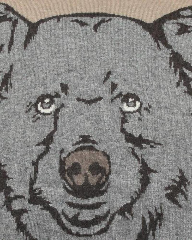 """CASHMERE BLEND BEAR PILLOW: 21"""" X 21"""": BEIGE-GRAY"""