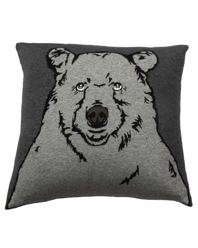 "CASHMERE BLEND BEAR PILLOW: 21"" X 21"": ANTHRACITE-GRAY"