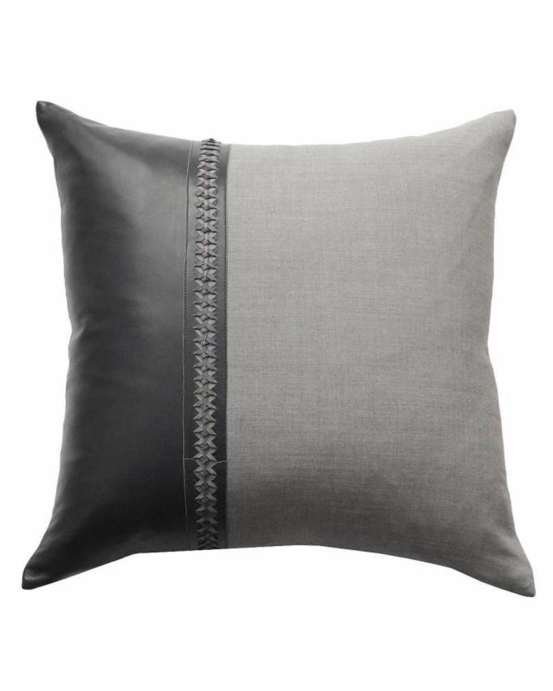 "ASTOR PILLOW WOOL-LEATHER-BRAIDED TRIM:  21"" X 21"": CHARCOAL-MOCHA"
