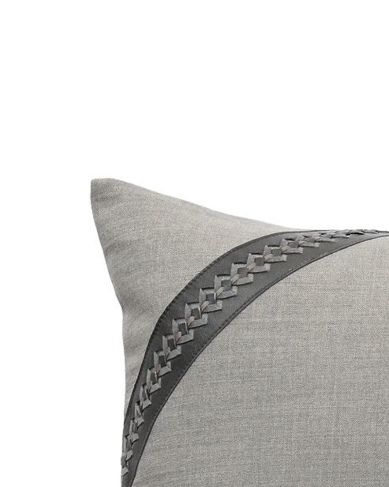 "ASTOR PILLOW WOOL-LEATHER-BRAIDED TRIM:  17"" X 17"": CHARCOAL-MOCHA"