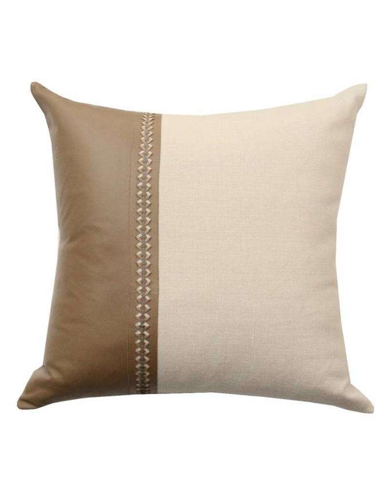 """ASTOR PILLOW LINEN-LEATHER-BRAIDED TRIM : 21""""X 21"""": TAUPE-GRAY"""