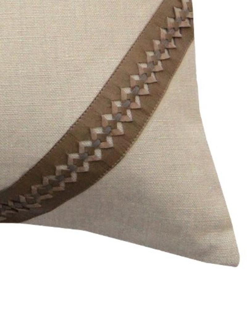 "ASTOR PILLOW LINEN-LEATHER-BRAIDED TRIM : 17"" X 17"": TAUPE-GRAY"