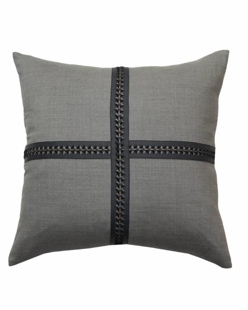 """WILLIAM PILLOW WOOL BASE WITH BRAIDED LEATHER: 21"""" X 21"""": CHARCOAL-MOCHA"""