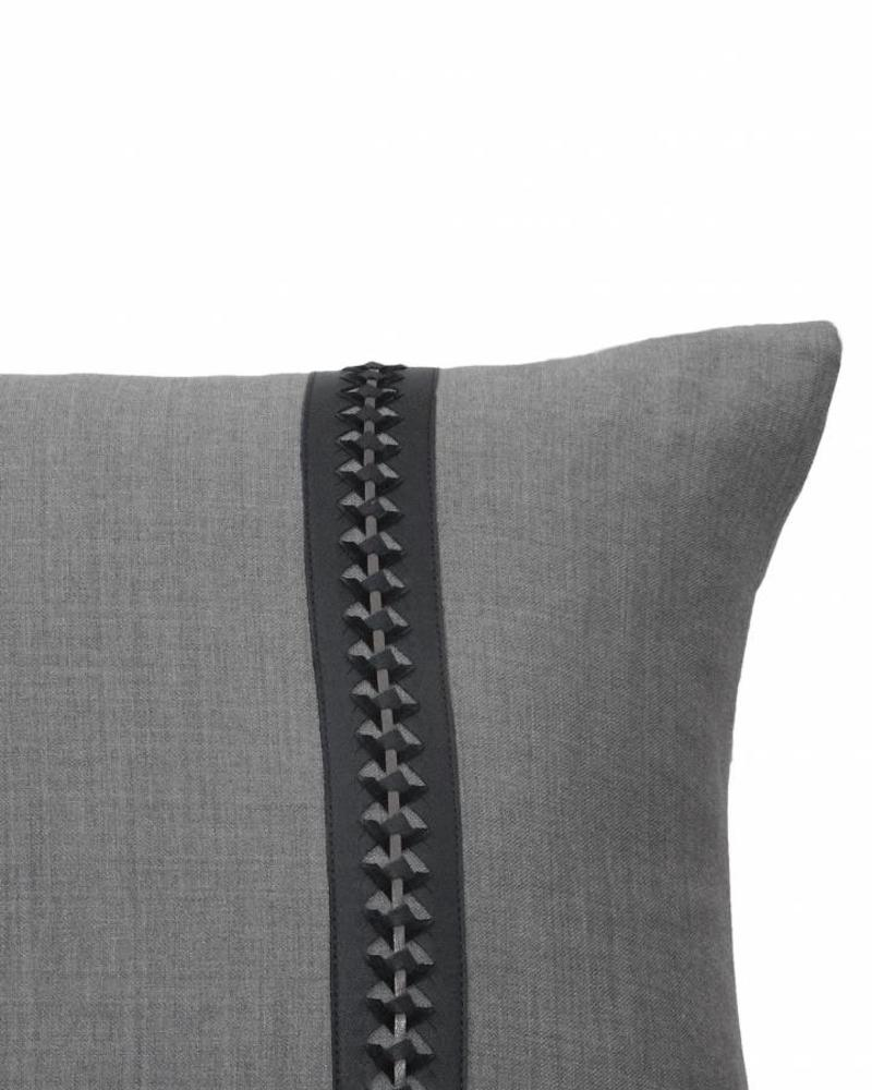 """WILLIAM PILLOW WOOL BASE WITH BRAIDED LEATHER: 16"""" X 24"""": CHARCOAL-MOCHA"""