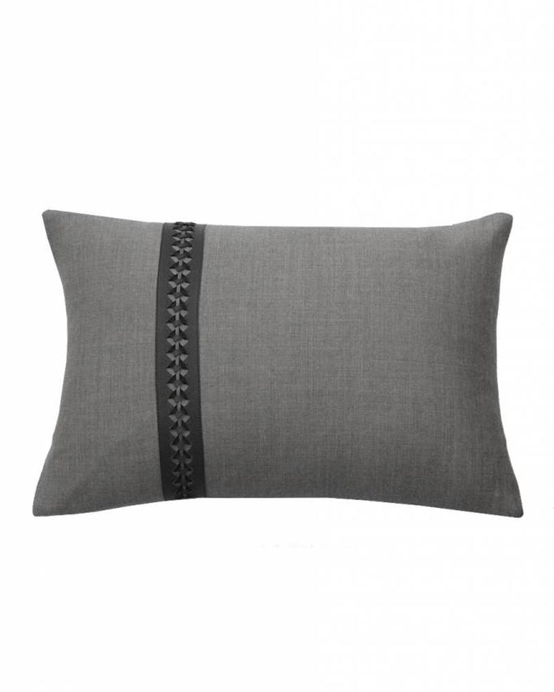 "WILLIAM PILLOW WOOL BASE WITH BRAIDED LEATHER: 12"" X 18"": CHARCOAL-MOCHA"
