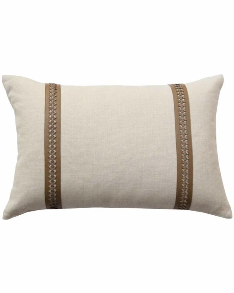 """WILLIAM PILLOW LINEN BASE WITH BRAIDED LEATHER: 16"""" X 24"""": TAUPE-GRAY"""