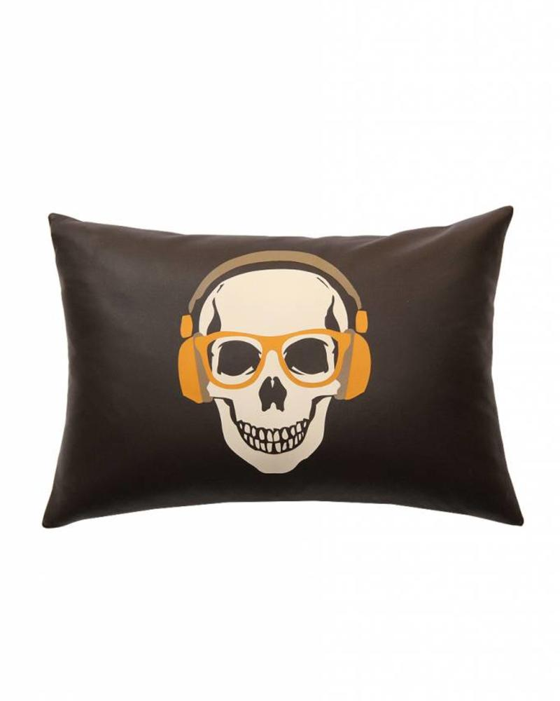 "SKULL LEATHER PILLOW: 12"" X 18"": CHOCOLATE"