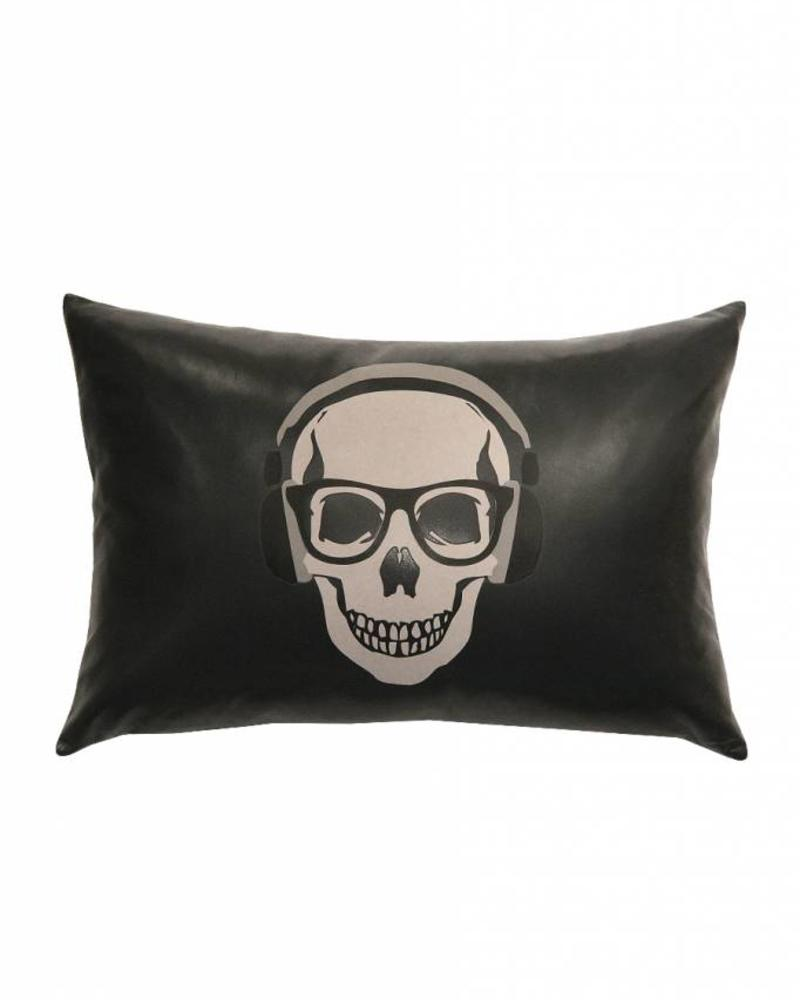 """SKULL LEATHER PILLOW: 12"""" X 18"""": CHARCOAL"""