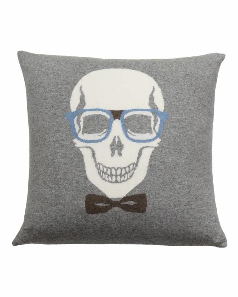 "SKULL BOW PILLOW: 21"" X 21"": GRAY-AZURE"