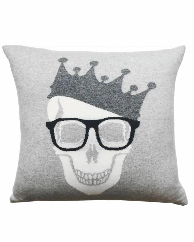 "SKULL CROWN PILLOW: 21"" X 21"": PEARL-ANTRACITE"