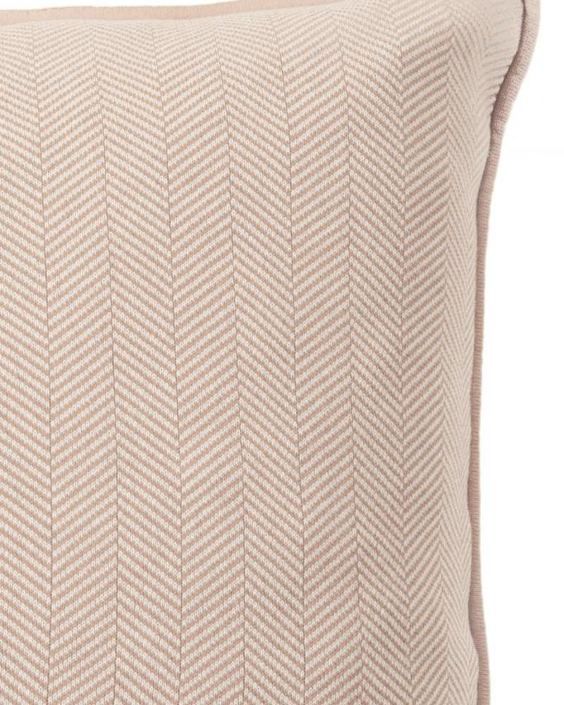 "HENRY HERRINGBONE PILLOW: 100% COTTON: 21"" X 21"": IVORY-TAUPE"