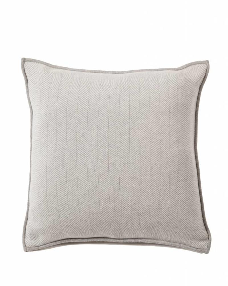 "HENRY HERRINGBONE PILLOW: 100% COTTON: 21"" X 21"": GRAY-IVORY"